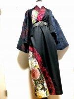 【即納】和柄着物ドレスワンピース 黒に赤ジャガード  ロング丈 2L〜4L
