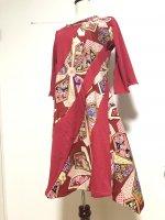 【即納】シルエット美しい 流線和柄アシメントリーワンピース 赤レトロ着物 L〜XL