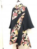 【即納】シルエット美しい 着物襟袖和柄アシンメトリーワンピース 黒華 3L
