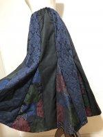 【即納】ラインきれいな和柄マーメイドスカート ロング ダマスク花絣 2L〜3L