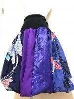 【即納】すっきりリブ仕立て和柄バルーンスカート 青紫藍蝶 フリー