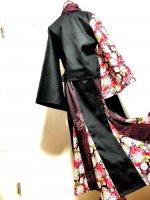 【即納】2WAY 和装セットアップスーツ 和柄 羽織り&マーメイドスカート 黒矢絣菊桜 L〜XL