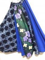 【即納】ふんわりふわふわサーキュラスカート 和柄紫花×インディゴ×青 フリー