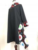 【即納】シルエット美しい 和柄着物襟風アシメントリーワンピース アート鞠 3L