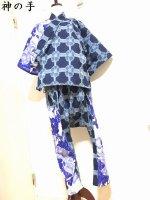【即納】サルエル甚平 白ロイヤルブルー×ジャガード花 レディースL〜3L