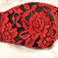 【即納】夏用 刺繍が美しい!エレガント布マスク 黒×赤レース 全サイズ有り