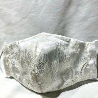【即納】通年 白サテンにレース合わせ 立体型マスク フィルターポケット付き! 全サイズ有り
