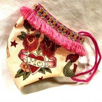【即納】タトゥー薔薇×バタフライにピンクフリンジレース 立体型マスク 内側ファンデ目立たないカラー 不織布内蔵 Lサイズ