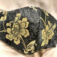 【即納】高級!上質 黒ジャガードに美しいゴールド羽根や花 和柄立体型マスク 通年タイプ 不織布内蔵 Lサイズ
