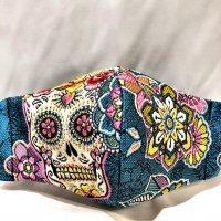 【即納】フランス製高級織り柄 スカル・ドクロ 立体型マスク 通年タイプ インナーポケット有り Lサイズ