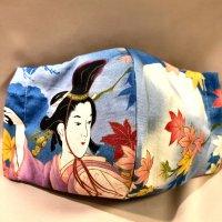 【即納】月と紅葉と踊り子 和柄立体型マスク 通年タイプ インナーポケット有り LLサイズ