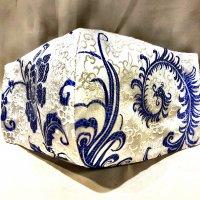 【即納】上質ジャガード 白に美しい青の羽根柄 和柄立体型マスク 不織布内蔵 通年タイプ LLサイズ