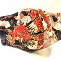 【即納】着物友禅の様な染色 いかつくも美しい龍 和柄立体型マスク インナーポケット有り 通年タイプ LLサイズ