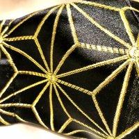 金襴 黒に金糸麻の葉 和柄立体型マスク インナーポケット有り 通年タイプ LLサイズ
