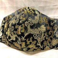 【即納】クール!黒にゴールド織り柄龍 和柄立体型マスク 通年タイプ 不織布内蔵 LLサイズ