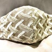 【即納】浮き立つ模様 刺繍 網代 ベージュ 和柄立体型マスク 不織布内蔵 全サイズ有り