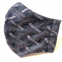 【即納】浮き立つ模様 刺繍 網代 ブラック 和柄立体型マスク 不織布内蔵 全サイズ有り