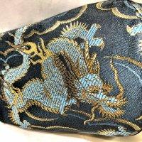 【即納】四神シリーズ 金襴 蒼龍 ゴムアジャスター付き 和柄立体型マスク 通年タイプ 不織布内蔵 LLサイズ