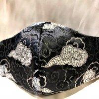【即納】高級ジャガード 黒にシルバー雲 和柄立体型マスク 不織布内蔵 通年タイプ Lサイズ