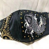 【即納】鯉×ラインストーン×ジャガード  ゴムアジャスター付き和柄立体型マスク 不織布内蔵 LLサイズ