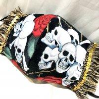 【即納】薔薇×スカル×フリンジ ゴムアジャスター付き 立体型マスク 秋冬 不織布内蔵 LLサイズ