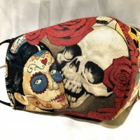 【即納】メキシコ死者の日柄スカル・ドクロ 立体型マスク 不織布内蔵 ゴムアジャスター付き LLサイズ