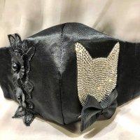 【即納】猫フェイスラインストーン×黒お花レース  立体型マスク 不織布内蔵 Lサイズ