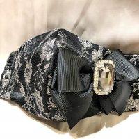【即納】黒にシルバー花レース×ビジューリボン  立体型マスク 不織布内蔵 Lサイズ