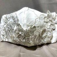 【即納】エレガント!ブライダルレース×白お花  立体型マスク 不織布内蔵 LLサイズ