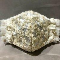 【即納】花刺繍レース×薔薇×白フリル  立体型マスク 不織布内蔵 Lサイズ