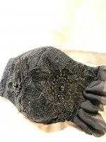 【即納】ドレスマスク 美しい!ブライダル黒レース 立体型マスク 不織布内蔵 Lサイズ