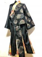 【即納】和装スーツセットアップ 和柄 源氏車×黒ジャガードペイズリー×金彩 L〜3L