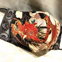 【即納】和柄 いかつくも美しい龍 立体型マスク アジャスター付き 不織布内蔵 LLサイズ