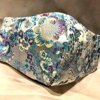 【即納】新柄!高級!上質ジャガード  ミントブルーに艶やかな花 和柄立体型マスク 通年タイプ 不織布内蔵 Lサイズ