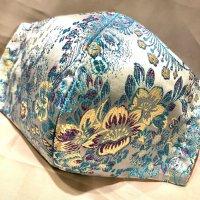 【即納】新柄!高級!上質ジャガード  ミントブルーに艶やかな花 和柄立体型マスク 通年タイプ 不織布内蔵 LLサイズ