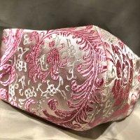 【即納】高級!上質ジャガード  上品なピンクの花 和柄立体型マスク 通年タイプ 不織布内蔵 LLサイズ