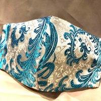 【即納】高級!上質ジャガード  アクアマリンの羽根 和柄立体型マスク 通年タイプ 不織布内蔵 LLサイズ