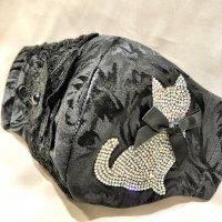 【即納】黒ラインストーン猫×ケミカル蝶レース 立体型マスク 不織布内蔵 Lサイズ