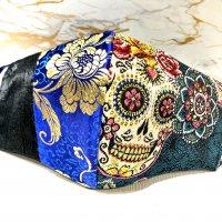 【即納】ジャガードシュガースカル×青にゴールド花×黒ペイズリー 3柄 立体型マスク アジャスター付き 不織布内蔵 LLサイズ