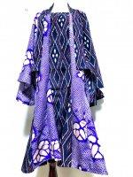 【即納】和装セットアップスーツ 羽織×マーメイドスカート 和柄紫シボリ×紺菱模様 着物リメイク L〜3L