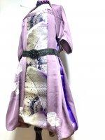 【即納】ワンピースにもなるバルーンスカート&ボレロ モーブ×蝶 着物リメイク M〜4L