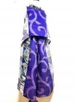 【即納】ワイドパンツ&後ろ下がりベスト 唐草×波帯×青海波 着物リメイク 〜3L