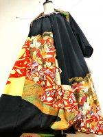 ゴージャス至極の黒留袖×帯着物リメイク 和柄ワンピースにもなるバルーンスカート&ボレロ 鶴 M〜4L