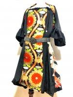 ゴージャス至極の黒留袖×帯着物リメイク 和柄ワンピースにもなるバルーンスカート&ボレロ レトロ華紋 M〜4L