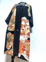 【即納】ゴージャス至極の黒留袖×帯着物リメイク 和柄ワンピースにもなるバルーンスカート&ボレロ ゴールド鳳凰 M〜4L