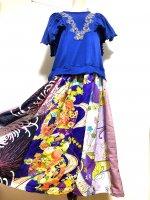 【即納】爽やか!ロイヤルブルードッキング和柄ワンピース 着物リメイク ふりふわ袖 〜3L