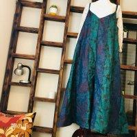【即納】大人可愛い!たっぷりワイドなキャミソール型サロペット・オールインワン・オーバーオール 和柄 大島紬2種紺緑 着物リメイク フリー