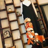 【即納】大人可愛い!たっぷりワイドなキャミソール型サロペット・オールインワン・オーバーオール 和柄 黒留袖2種金彩豪華 着物リメイク フリー