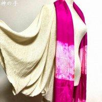 【即納】たっぷり着物袖のストール風羽織り ゴールドラメ薄手ニット×兵児帯ピンク 着物リメイク フリー