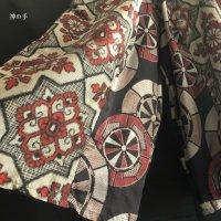 【即納】袴風和柄ワイドパンツ 大島紬2種より源氏車 着物リメイク メンズ レディース フリー